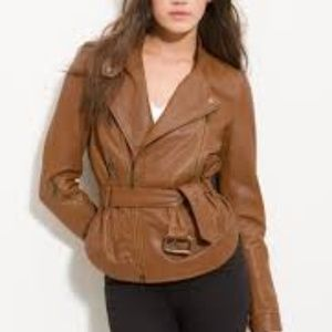 Kenna-T Brown Belted Leather Moto Jacket S